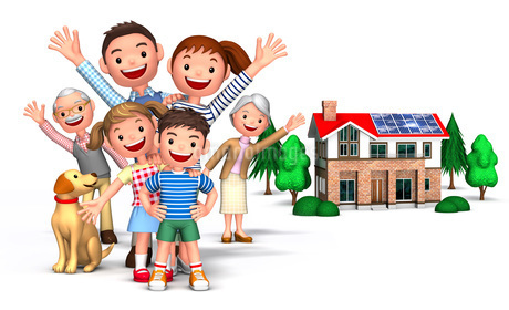 三世代家族と犬集合と家のイラスト素材 [FYI01772755]