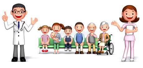 医師,看護師と病院の待合室で診察を待つ家族のイラスト素材 [FYI01772757]