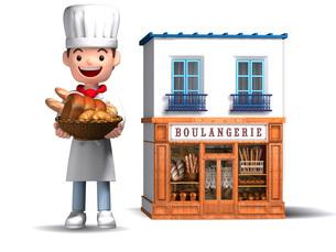 パン屋さんと店舗のイラスト素材 [FYI01772759]