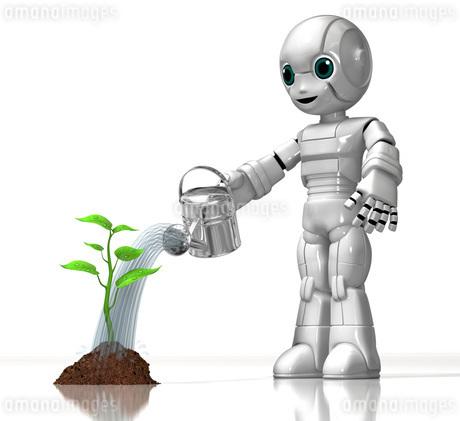 植物に水をやる少年ロボットのイラスト素材 [FYI01772760]