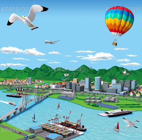 海辺の街の流通といろんな発電所のイラスト素材 [FYI01772761]