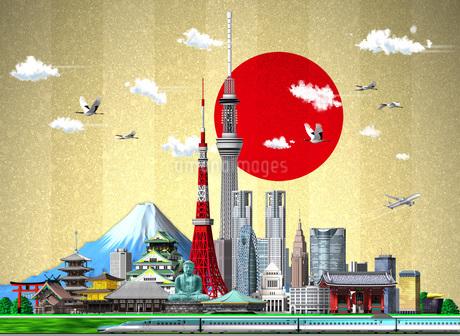 日本イメージ日の丸金屏風のイラスト素材 [FYI01772762]