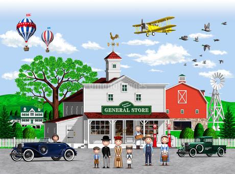街の雑貨屋に集まる人たちのイラスト素材 [FYI01772763]