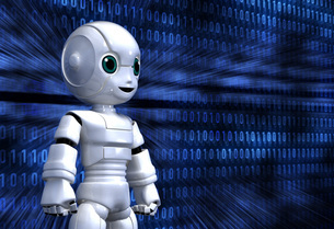 ロボット少年とサイバー世界のイラスト素材 [FYI01772764]