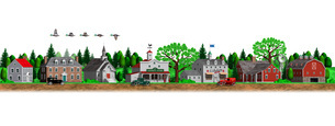 古いアメリカの田舎町の街並みとマガモのイラスト素材 [FYI01772765]