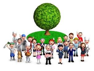 木といろんな職業と人々のイラスト素材 [FYI01772768]
