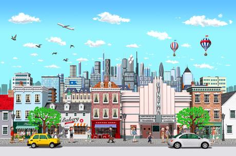 街と高層ビルと人々_1のイラスト素材 [FYI01772770]