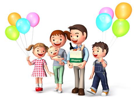 買い物中の風船を持った家族のイラスト素材 [FYI01772771]