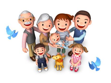 三世代家族と犬と青い鳥鳥瞰のイラスト素材 [FYI01772774]