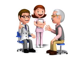 患者に説明する医師と看護師のイラスト素材 [FYI01772775]