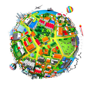 球状の街と人々のイラスト素材 [FYI01772776]