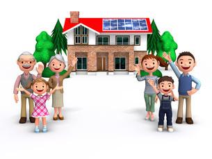 三世代家族とソーラーパネルの家のイラスト素材 [FYI01772779]