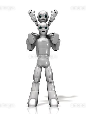 肩車をするロボット親子のイラスト素材 [FYI01772781]