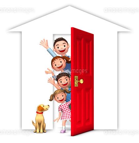 赤いドアと家族と犬のイラスト素材 [FYI01772782]