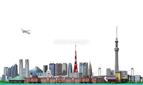 東京の街並み2白バックのイラスト素材 [FYI01772785]