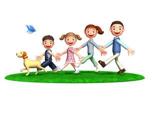 芝生の上を歩く家族と犬と青い鳥のイラスト素材 [FYI01772786]