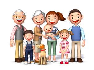 三世代家族と犬正面のイラスト素材 [FYI01772791]
