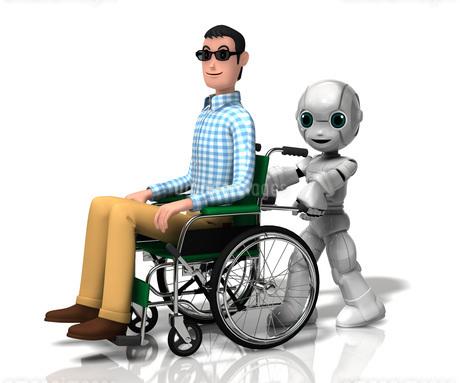 車いすを押す少年ロボットのイラスト素材 [FYI01772796]