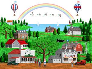 古いアメリカの田舎町の街並みと虹と気球とマガモのイラスト素材 [FYI01772885]