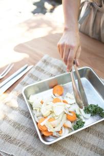 バットに野菜を移す女性手元の写真素材 [FYI01775347]
