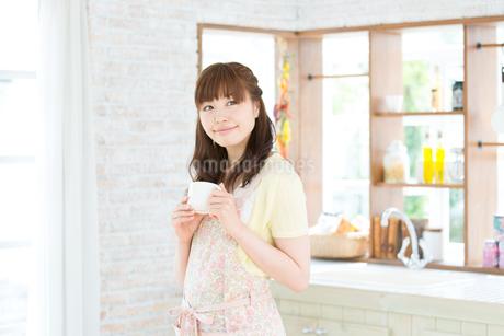 台所でエプロン姿の主婦の写真素材 [FYI01775738]