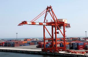 8月 仙台港のガントリークレーンとコンテナの写真素材 [FYI01778776]