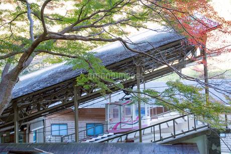 紅葉と吉野山ロープウェイの写真素材 [FYI01778803]