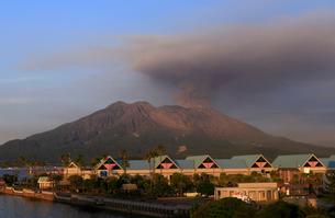 平成27年6月,鹿児島市街から見た噴火する桜島の写真素材 [FYI01778926]