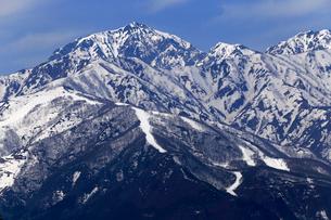 4月春 白馬村から見た残雪の北アルプスの写真素材 [FYI01779627]