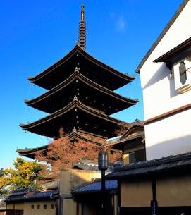 1月 冬の八坂塔-京都東山の風景の写真素材 [FYI01779636]