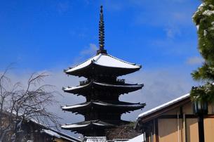 1月 雪化粧の八坂塔-京都東山の風景-の写真素材 [FYI01779692]