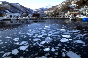 2月 流氷の羅臼港-冬の北海道-の写真素材 [FYI01779865]