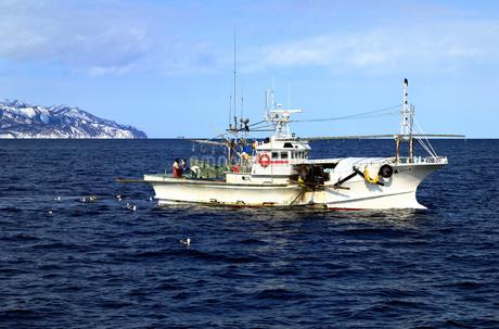 2月 羅臼港沖の漁船 -冬の北海道-の写真素材 [FYI01779994]