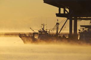 標津漁港の朝とけあらしの写真素材 [FYI01780434]