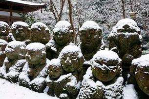 1月 雪をかぶった愛宕念仏寺の石仏  京都奥嵯峨の石仏寺の写真素材 [FYI01780552]