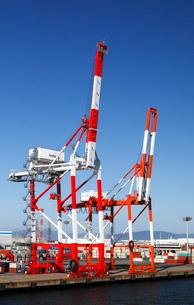 10月 名古屋港のガントリークレーンとコンテナの写真素材 [FYI01781008]