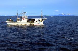 2月 羅臼港沖の漁船 -冬の北海道-の写真素材 [FYI01781021]
