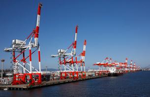 10月 名古屋港のガントリークレーンとコンテナの写真素材 [FYI01781051]