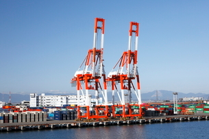 10月 名古屋港のガントリークレーンとコンテナの写真素材 [FYI01781176]