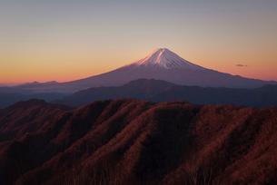 白谷丸より望む朝焼けの富士山と三つ峠と大蔵高丸およびハマイバ丸の写真素材 [FYI01782131]