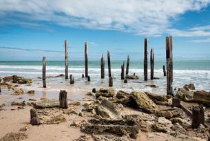 ポートウィランガ(Port Willunga)の朽ち果てた桟橋の写真素材 [FYI01782667]