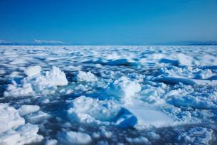 知床連山と野付半島の流れて動く流氷の写真素材 [FYI01783209]