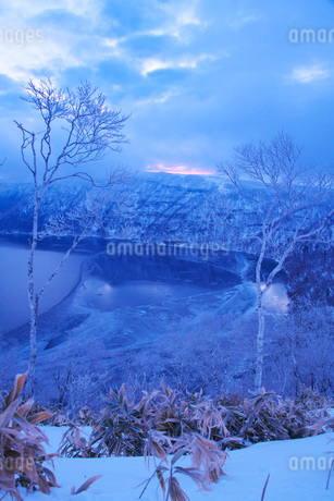 摩周湖の朝と樹氷の写真素材 [FYI01783941]