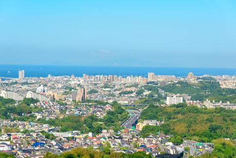 神戸市の海が見える街並みの写真素材 [FYI01784137]