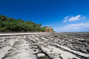 波状岩と青島の写真素材 [FYI01784335]