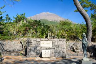 林芙美子文学記念碑と桜島の写真素材 [FYI01784692]