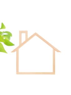 木の家のフレームとポトスの写真素材 [FYI01788225]