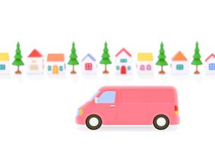 ピンクのバンと家並みの写真素材 [FYI01788237]