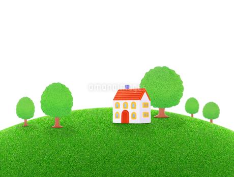 芝生の丘の家と樹木の写真素材 [FYI01788355]