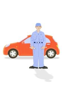 整備士と赤い車のイラスト素材 [FYI01788517]